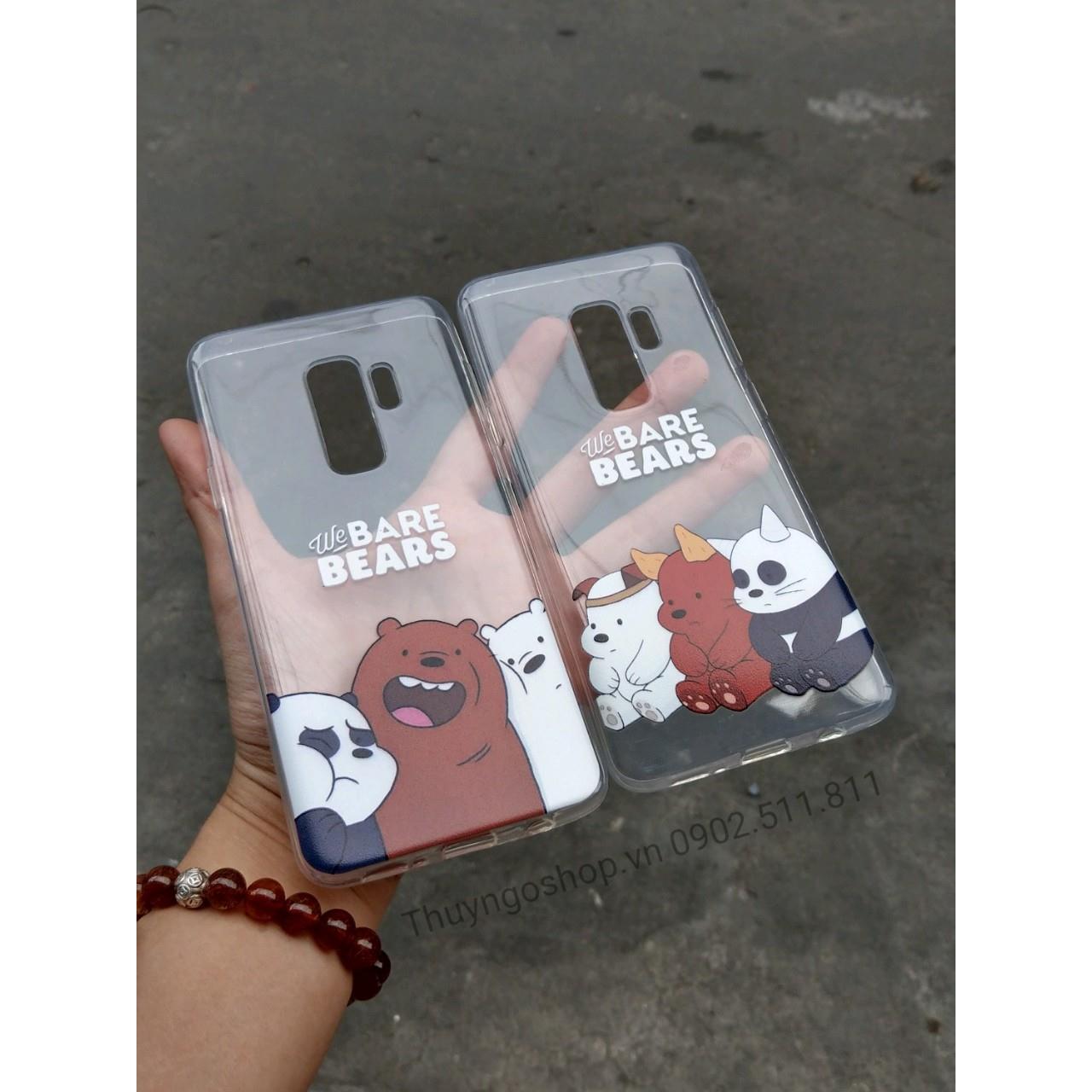 Ốp lưng silicon in hình 3 chú gấu Samsung S9 Plus