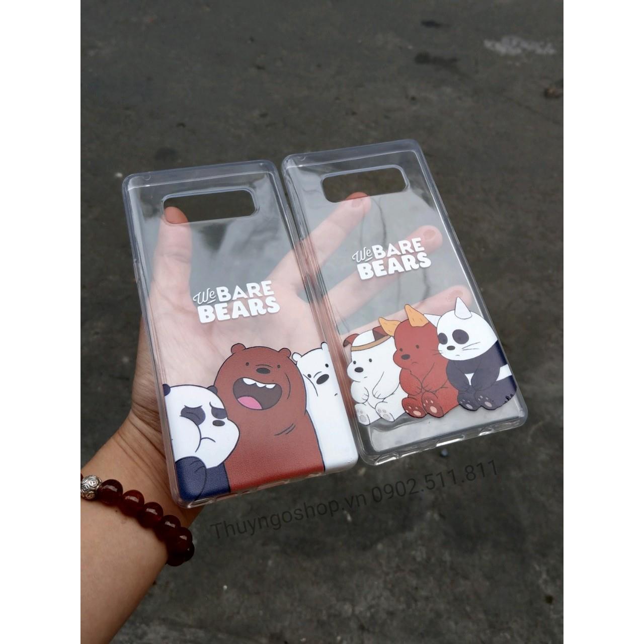 Ốp lưng silicon in hình 3 chú gấu Samsung Note8