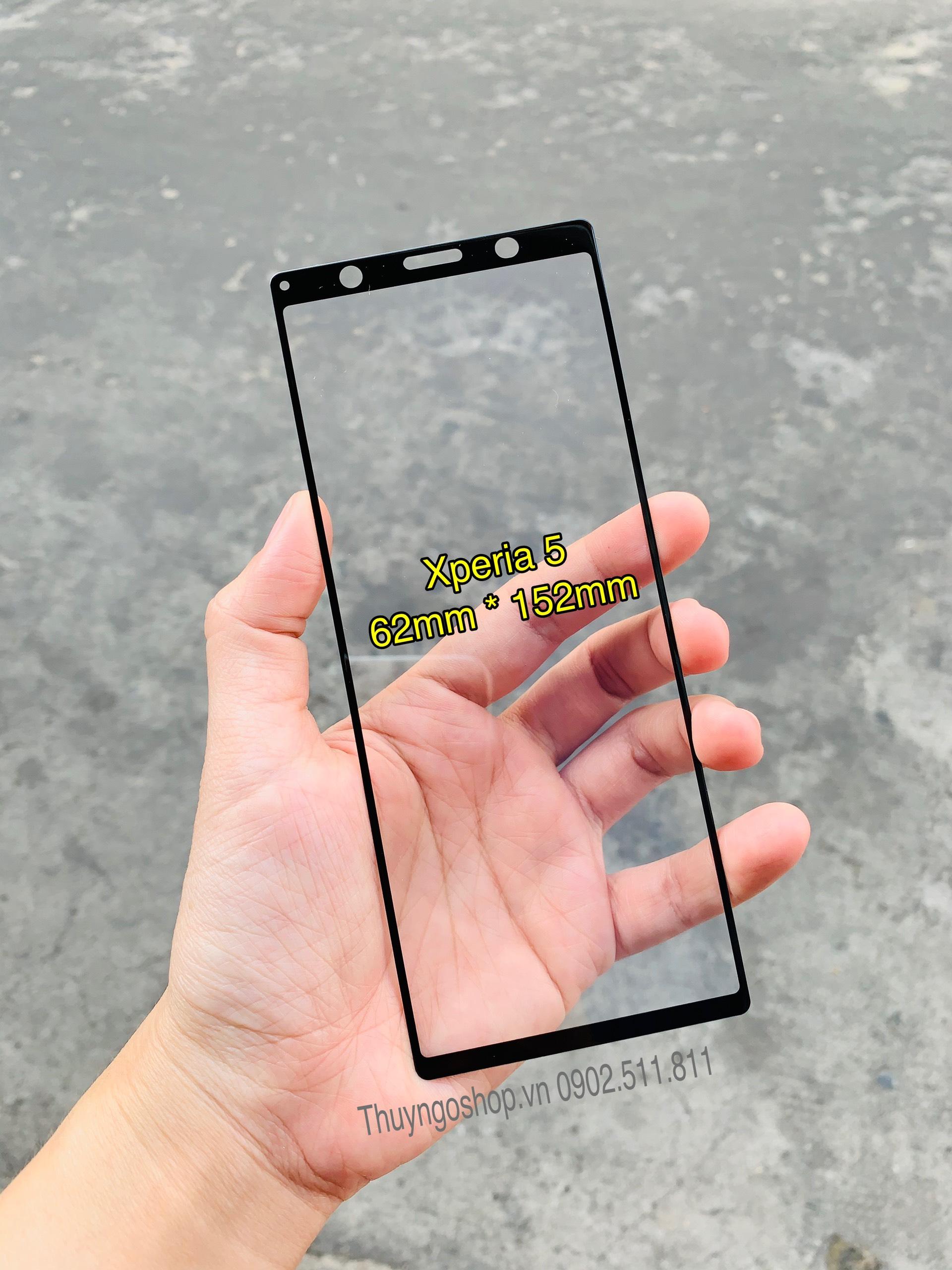 Kính cường lực full màn hình Sony Xperia 5 keo 100% toàn màn hình, cảm ứng nhạy 100%