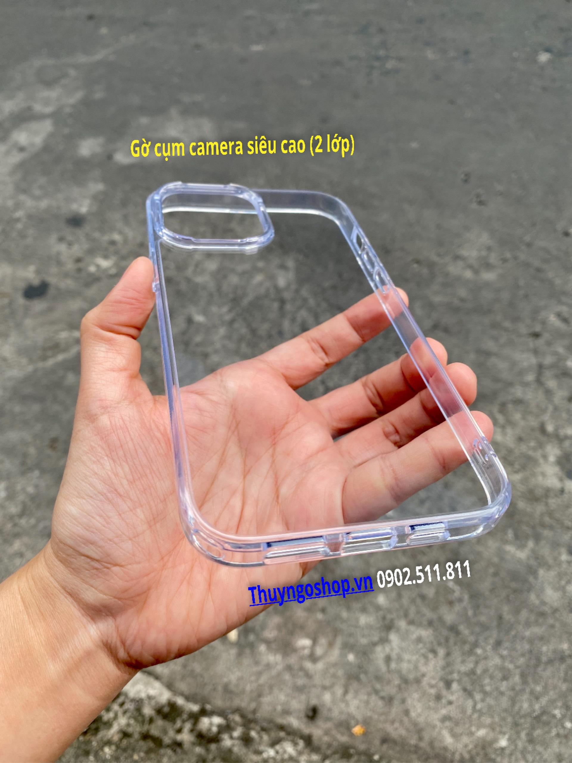 Ốp lưng trong suốt Iphone 13 pro max (viền camera 2 lớp)