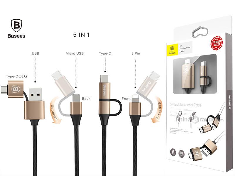 CÁP ĐA NĂNG 5IN1 BASEUS (USB, USB-C, LIGHTNING, MICROUSB)