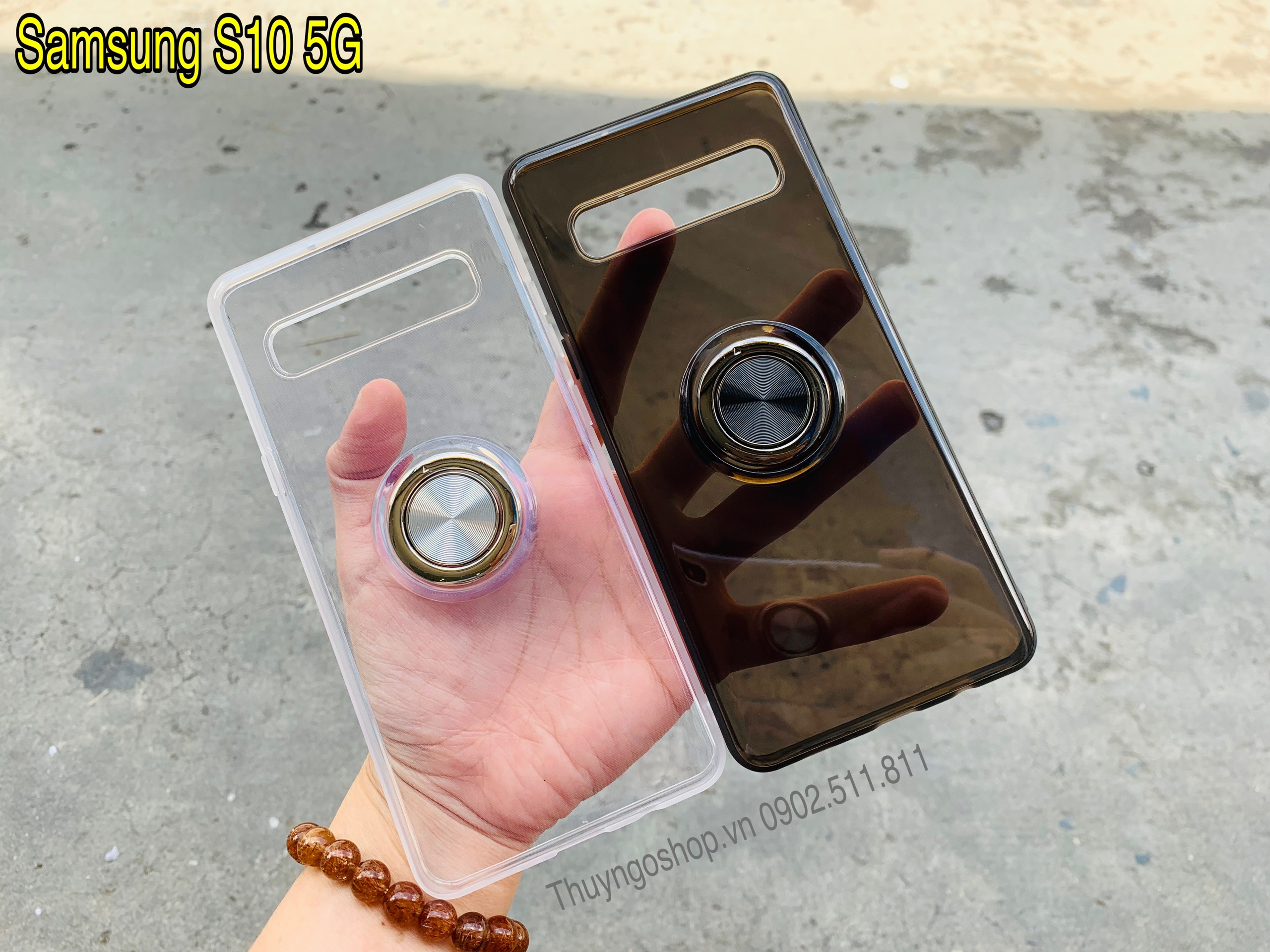 Ốp silicon kèm iring siêu mỏng xoay 360 - Samsung S10/S10 Plus/S105G/Note9/Note10/Note10 Plus