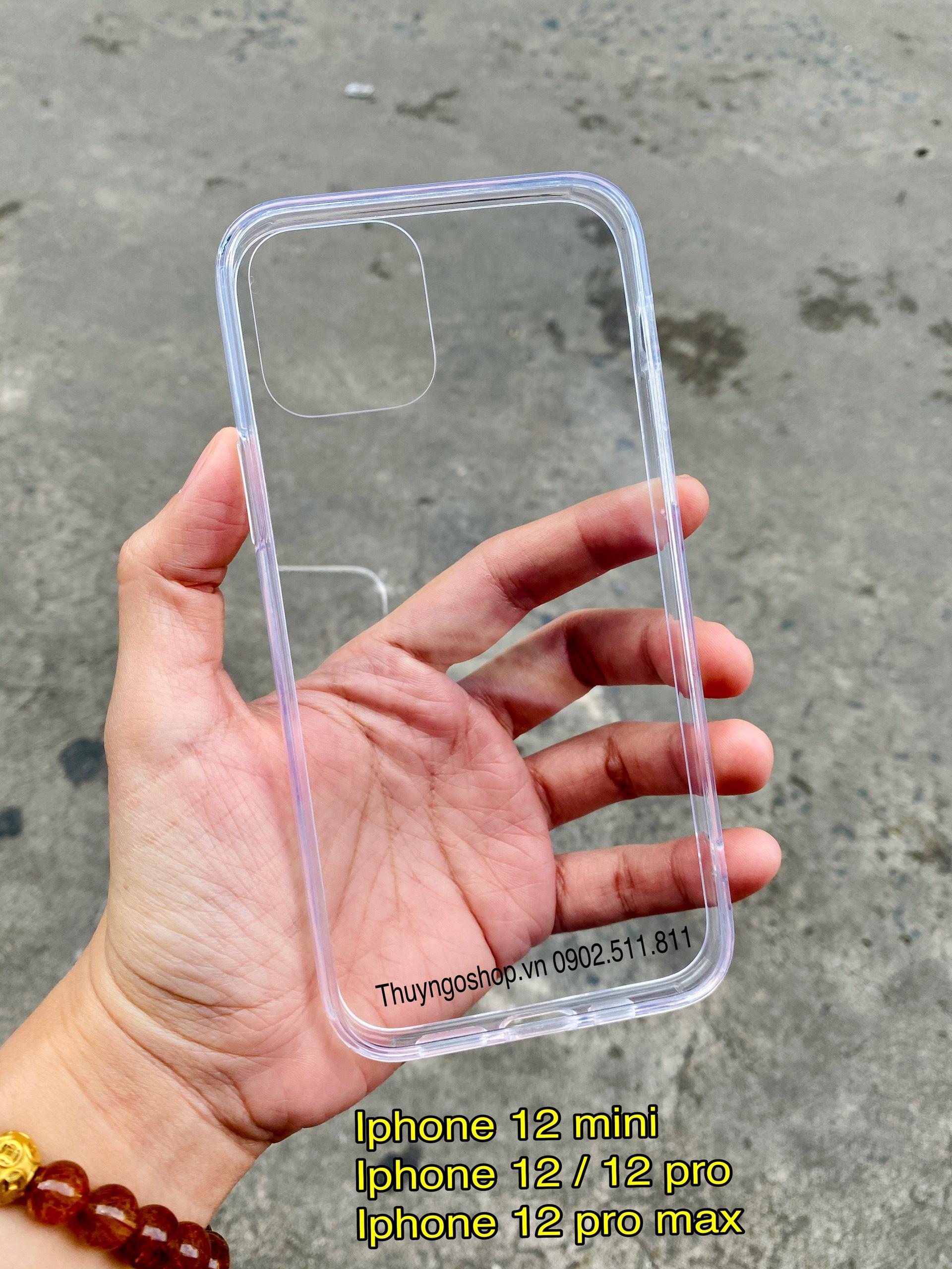 Ốp lưng kính cường lực, 4 cạnh viền nhựa dẻo silicon Iphone 12 mini