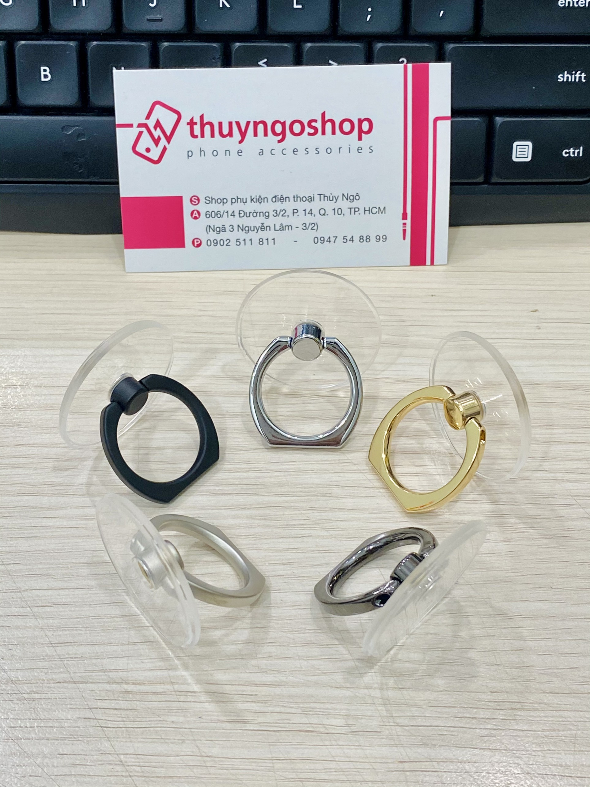 Nhẫn dán xoay 360 trong suốt