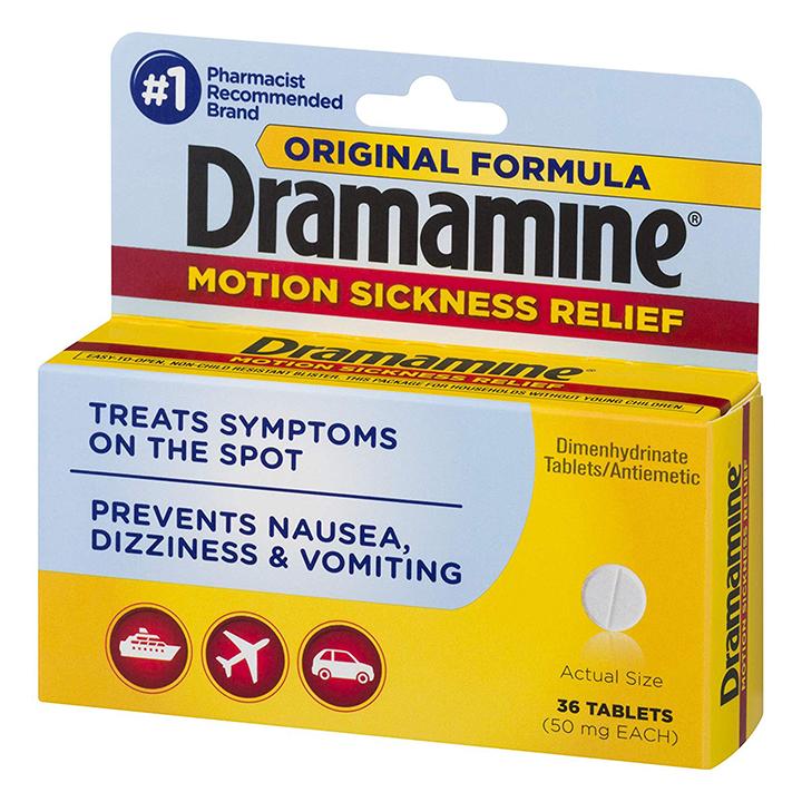 Thuốc say xe Dramamine Original hộp 36 viên của Mỹ - Giảm nhanh các triệu chứng say tàu xe