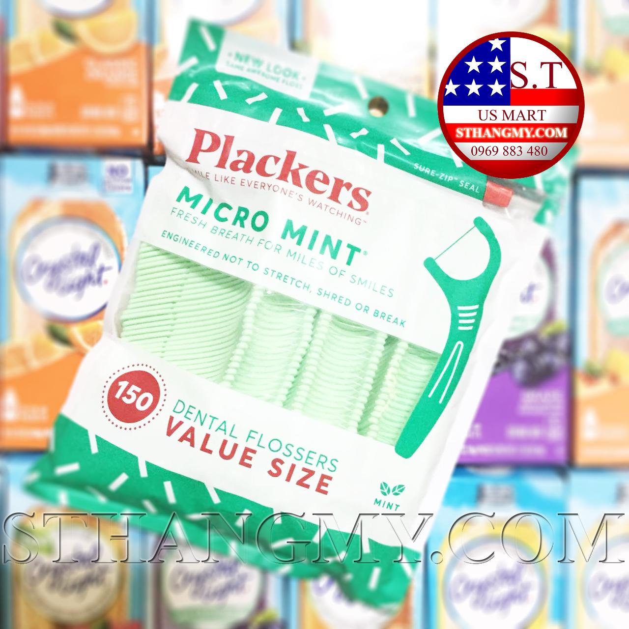 Chỉ nha khoa làm sạch chân răng Plackers Micro Mint 150 cây/gói
