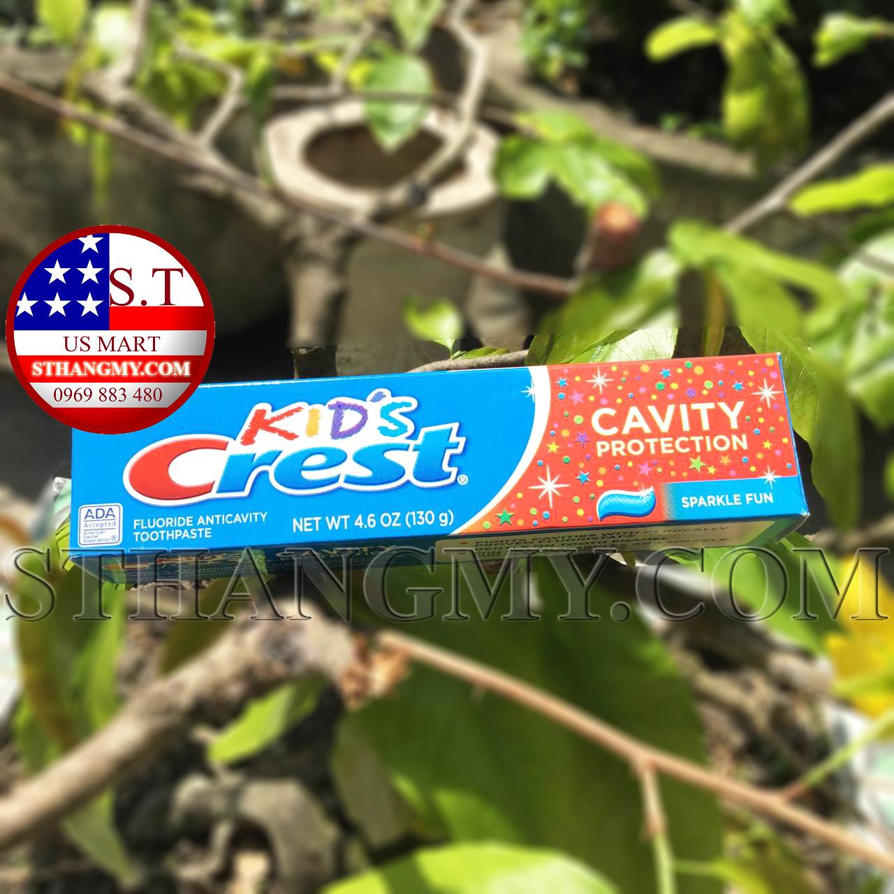 Kem đánh răng Crest Kid's Cavity Protection, Sparkle Fun Flavor cho trẻ em từ 2 tuổi trở lên - 130gr/tuýp