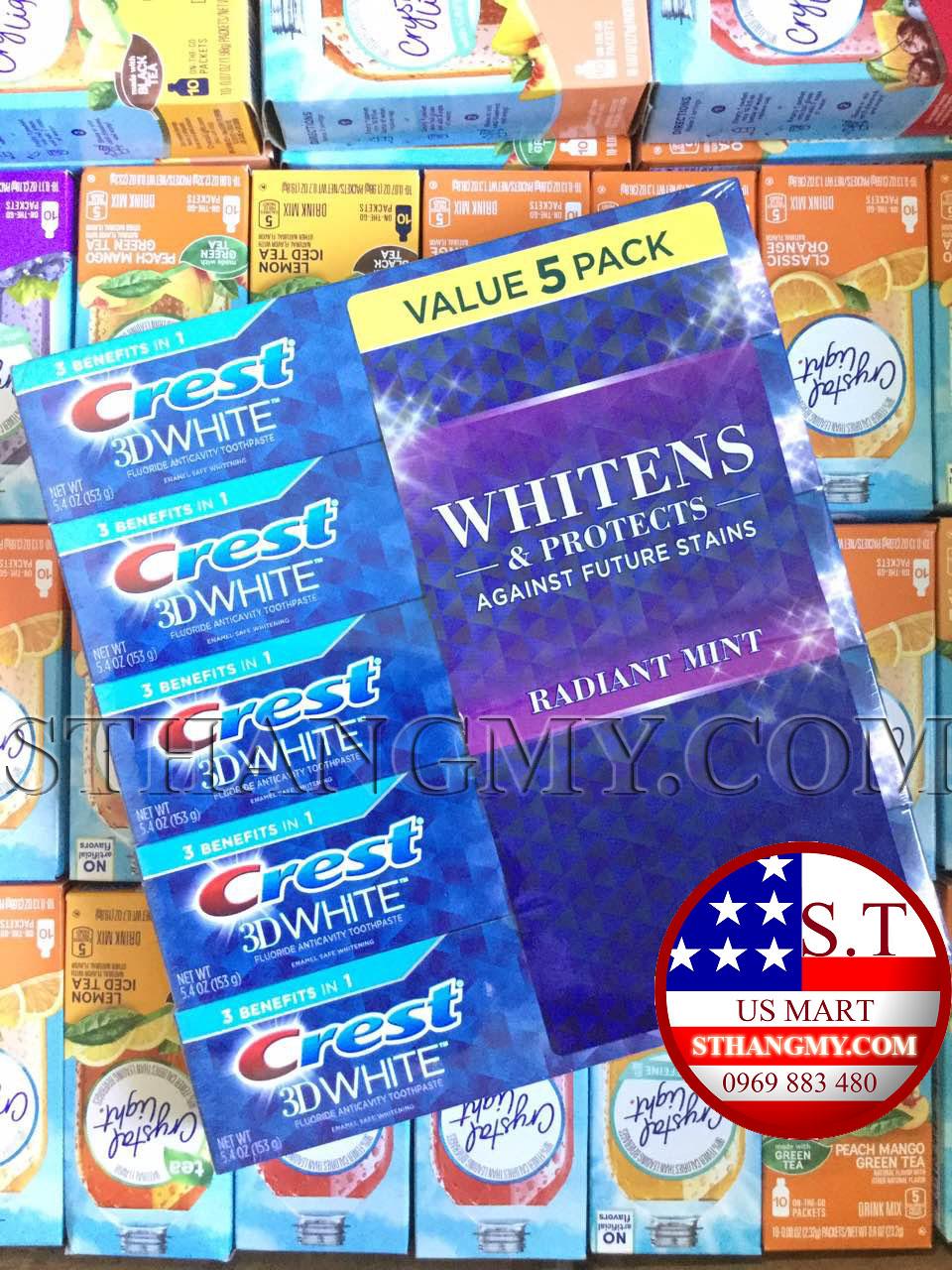 Lốc 5 tuýp Kem đánh răng Crest 3D white Radiant Mint- răng trắng sáng hơn sau mỗi lần sử dụng.