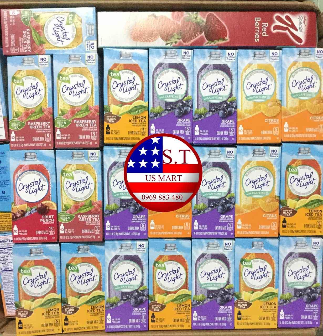 Bột pha nước trái cây CRYSTAL LIGHT On The Go Drink Mix - đặc biết dành cho người ăn kiêng, DAS, Keto, bệnh đường huyết