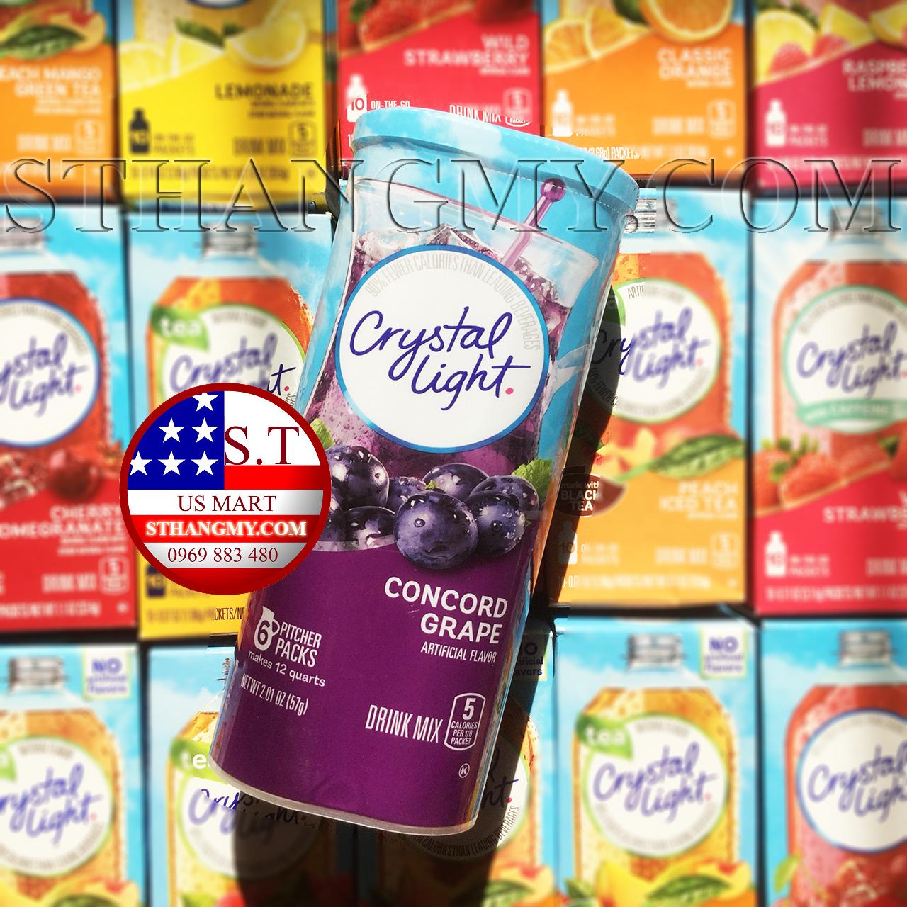 Bột pha nước trái cây CRYSTAL LIGHT hộp lớn vị Grape - Nho