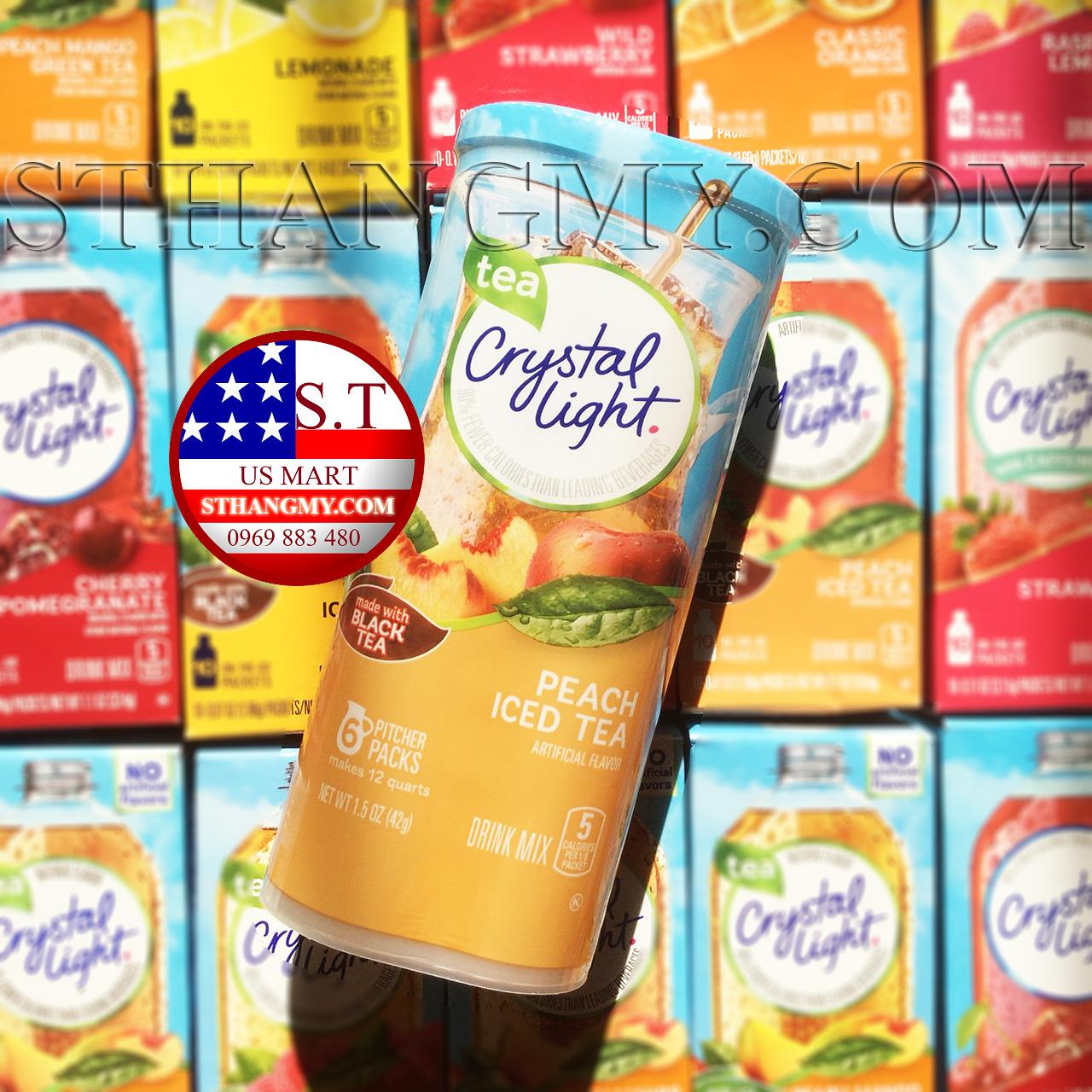 Bột pha nước trái cây CRYSTAL LIGHT hộp lớn vị Peach Iced Tea - Trà đào.
