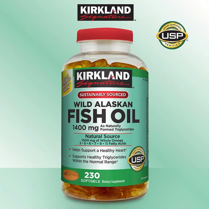 Viên dầu cá Alaskan hoang dã thượng hạng Kirkland Signature Wild Alaskan Fish Oil 1400 mg 230 viên