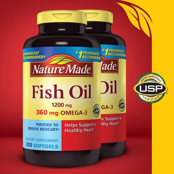 Viên dầu cá Omega 3 Nature Made Fish Oil 1200 mg., 200 viên nang mềm