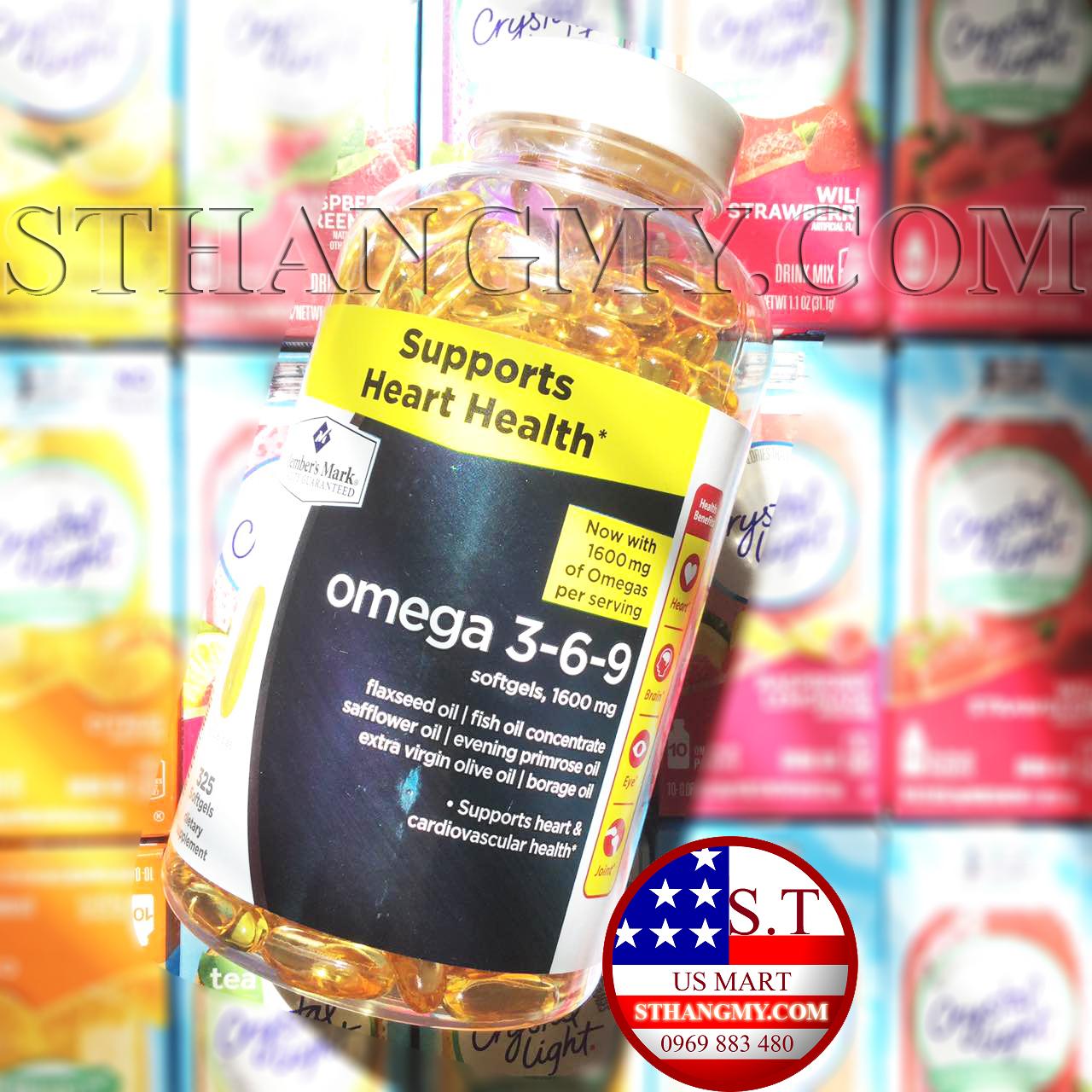 Viên uống dầu cá Omega 3-6-9 Member's Mark Suppots Heart Health 325 của Mỹ.