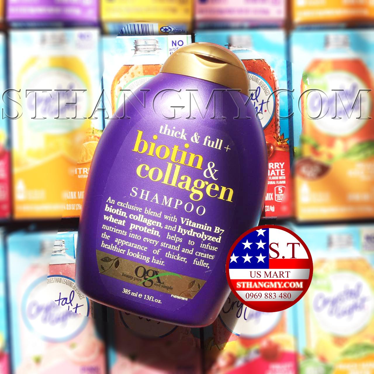 Dầu Gội Làm Dày Tóc OGX Thick & Full Biotin & Collagen Shampoo- 385ml
