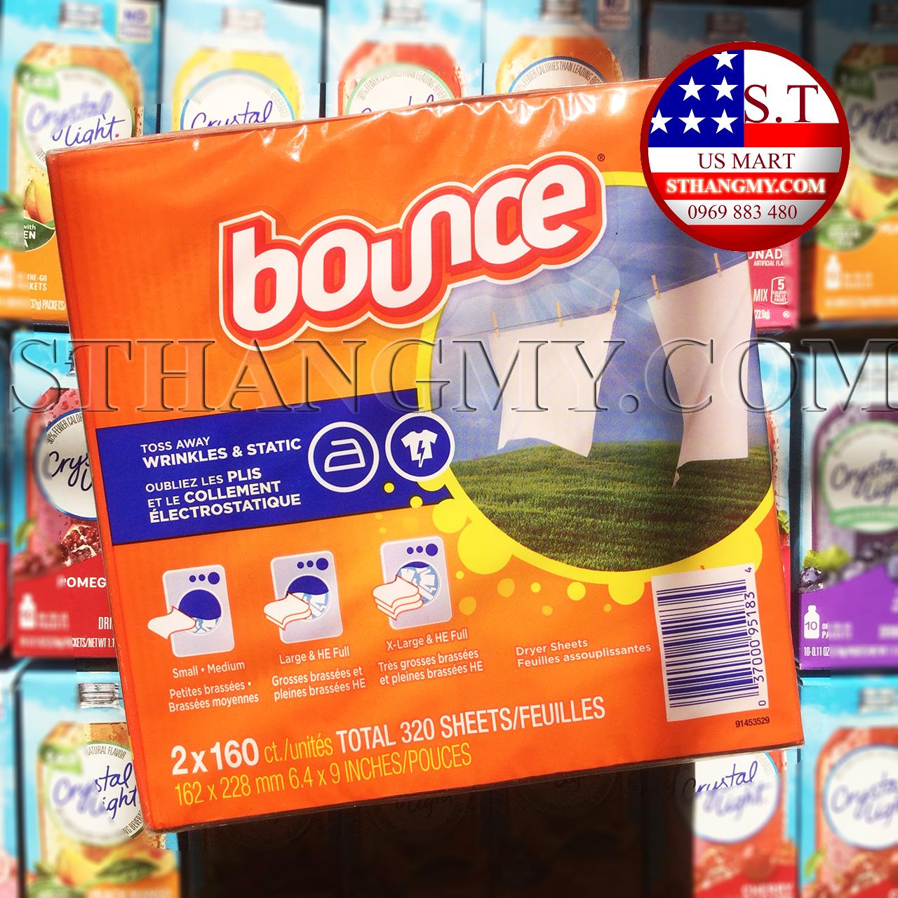 Giấy thơm quần áo Bounce Dry sheet 160 tờ/hộp - NHIỀU CHỨC NĂNG TRONG MỘT HỘP GIẤY