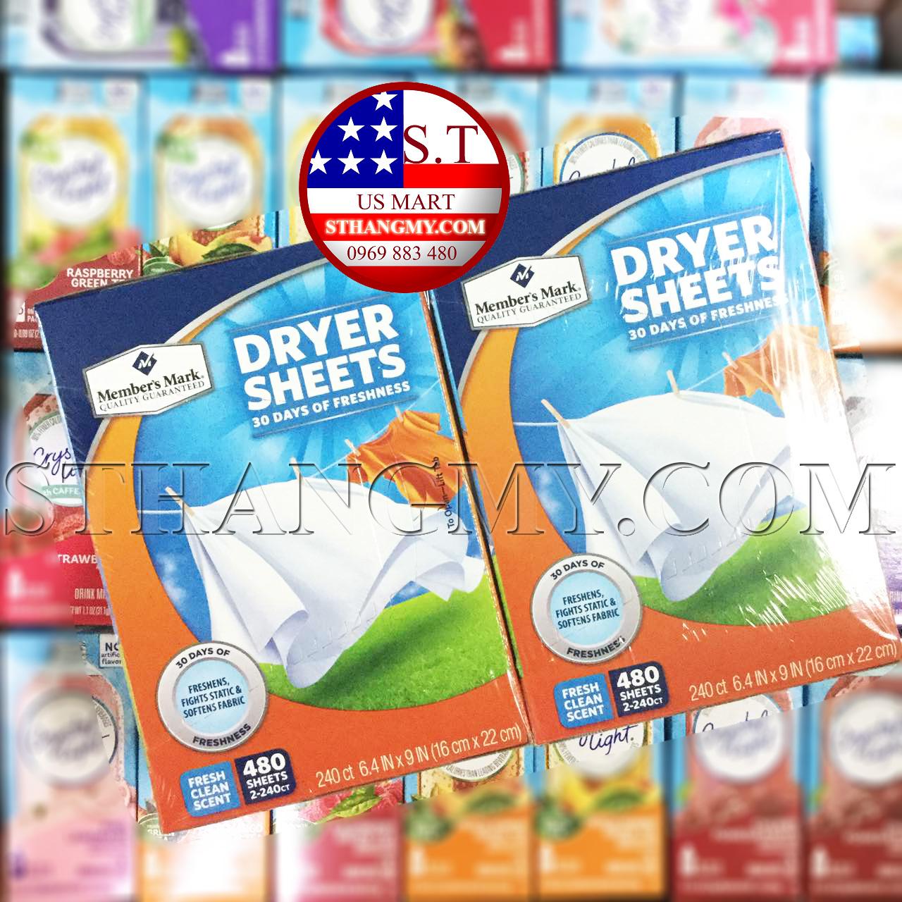 Giấy thơm quần áo MEMBER'S MARK Dry sheet 240 tờ/hộp