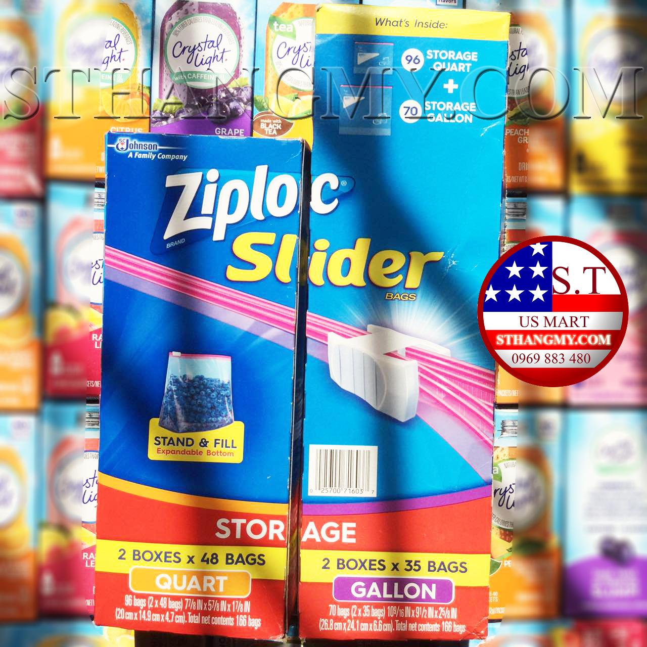 Hộp 48 Túi Zip có khóa kéo size vừa- Ziploc Slider Storeage Bags Quart