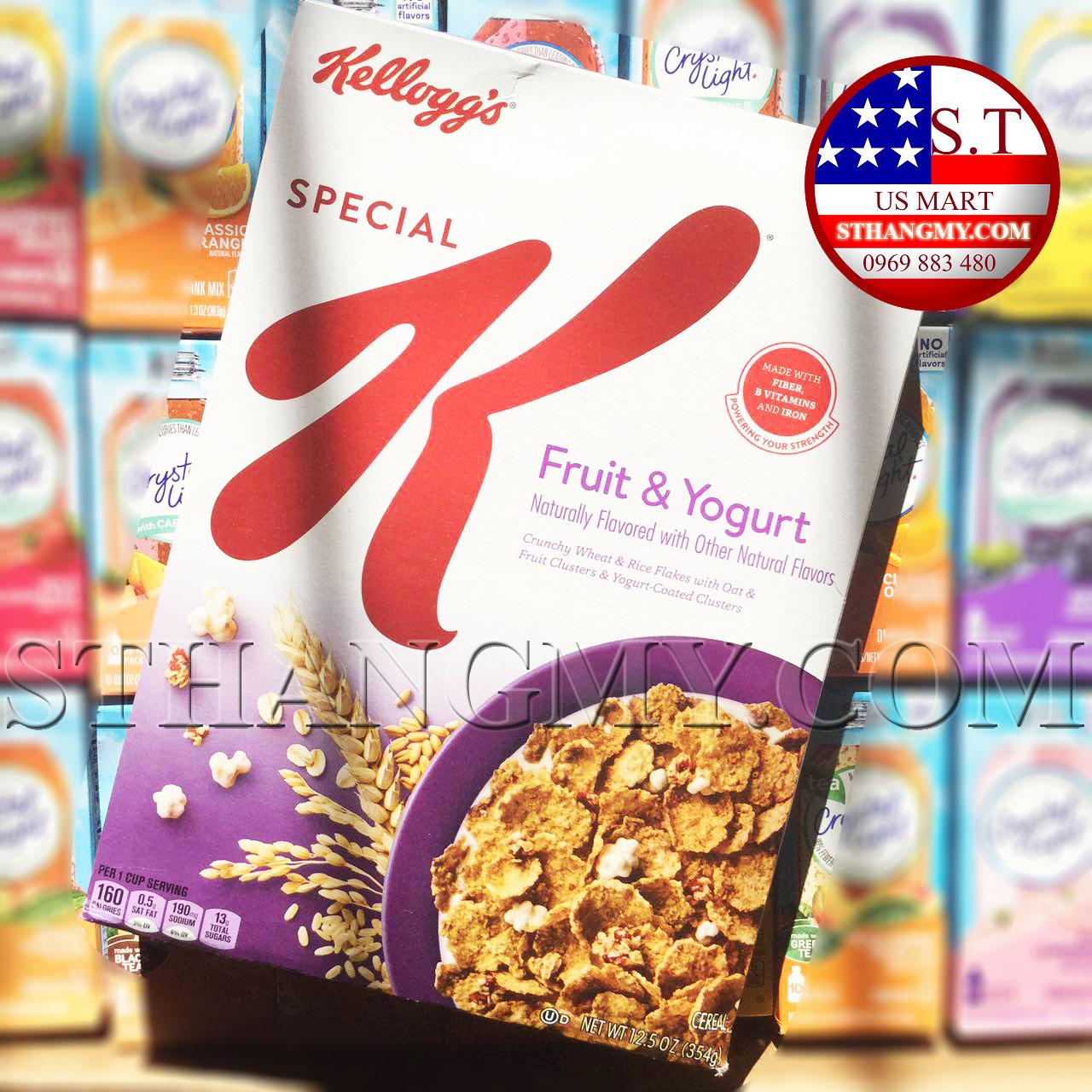 Ngũ cốc ăn sáng Kellogg's trái cây và sữa chua của Mỹ 354g