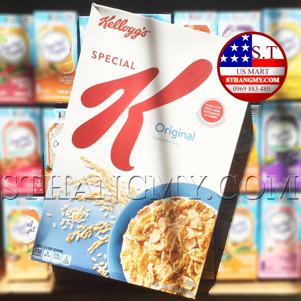 Ngũ cốc ăn sáng Kellogg's Original ít đường của Mỹ 340g