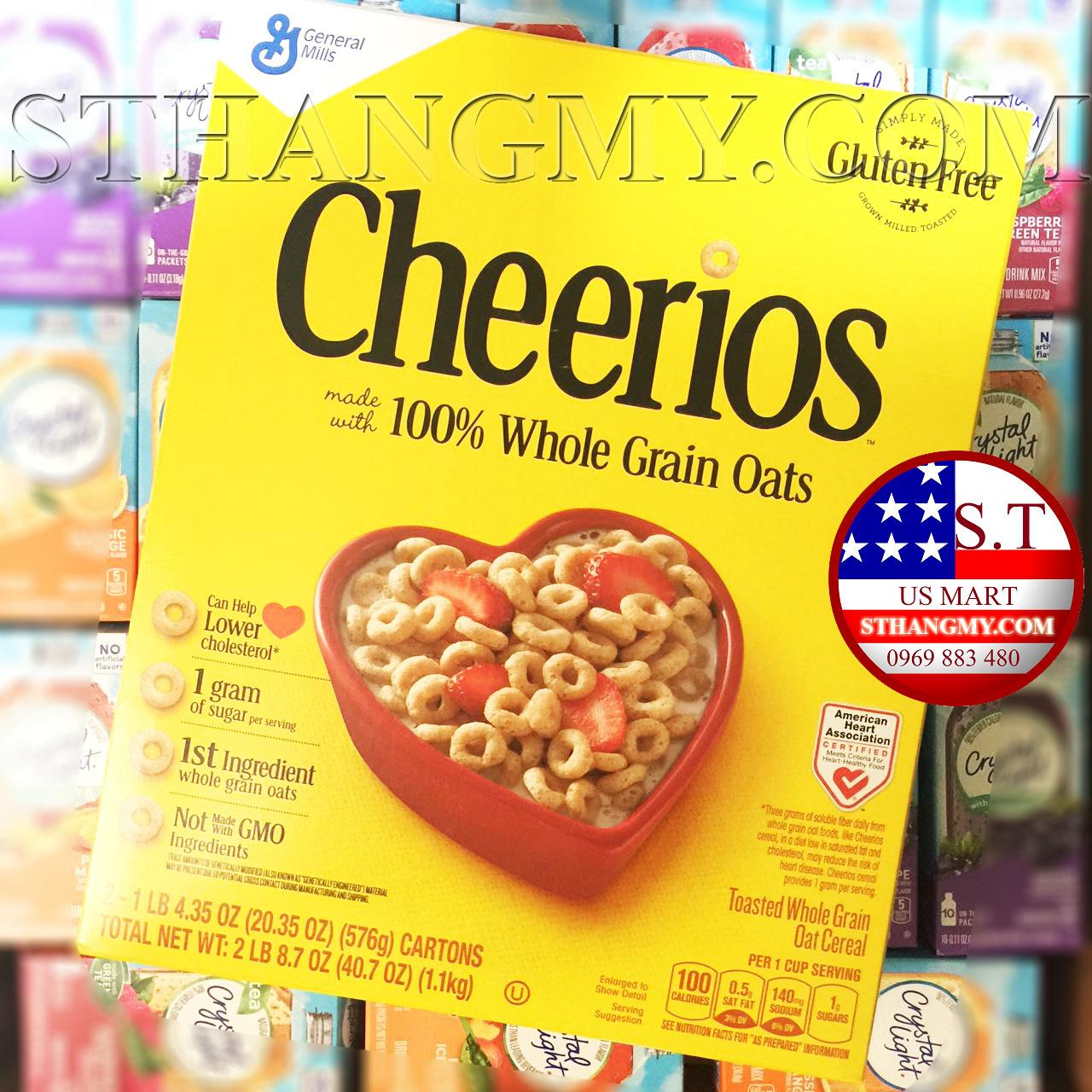 Ngũ cốc Cheerios hộp to 576, 100% Whole Grain Oats