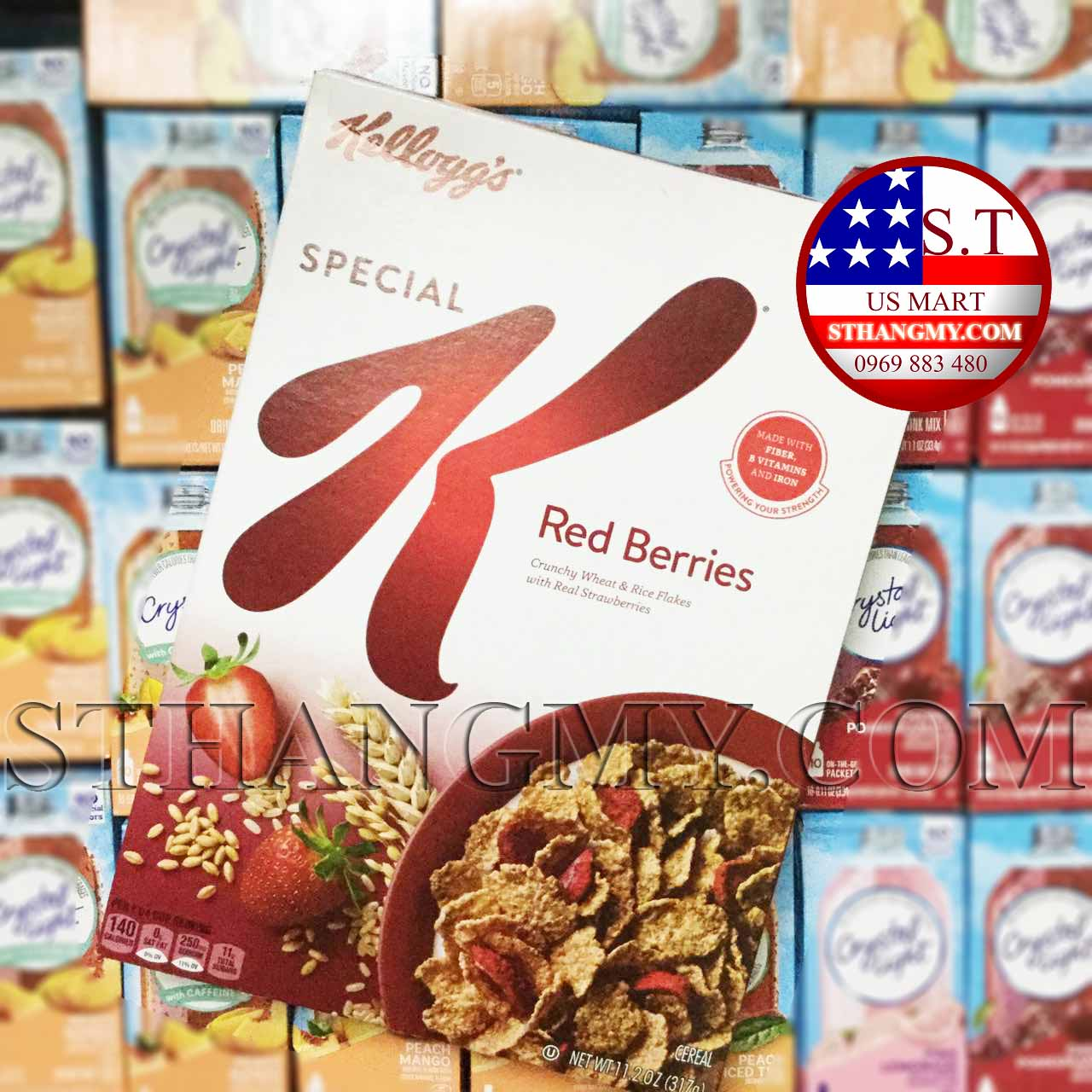 Ngũ cốc dinh dưỡng Kellogg's dâu tây 331g - Ngũ cốc giòn với dâu tây thật bên trong