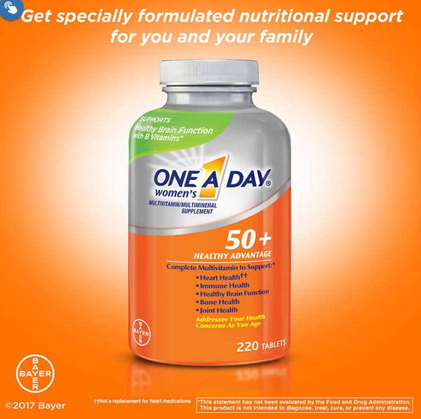 Thuốc bổ tổng hợp dành cho phụ nữ trên 50 tuổi- One A Day Women's 50 + Multivitamin 220v (Mẫu mới 2018)