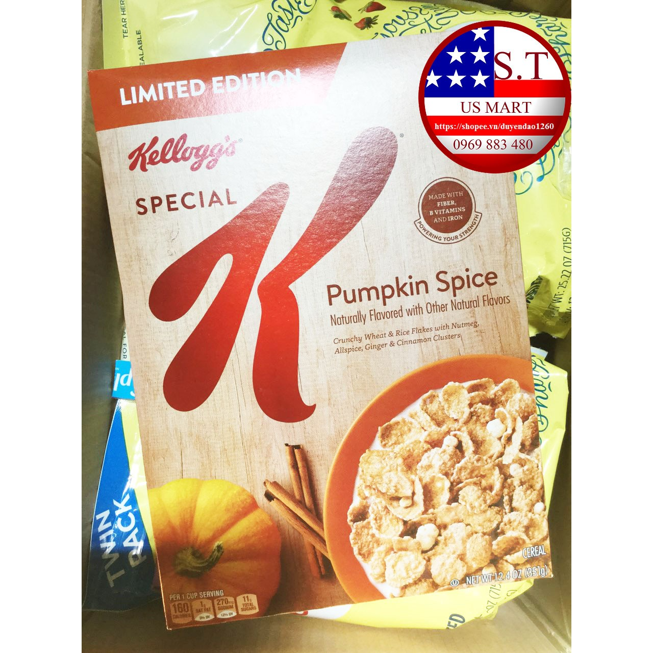 Ngũ cốc dinh dưỡng Kellogg's Pumpkin Spice 351 gram - Phiên bản giới hạn cho Hallowen 2018