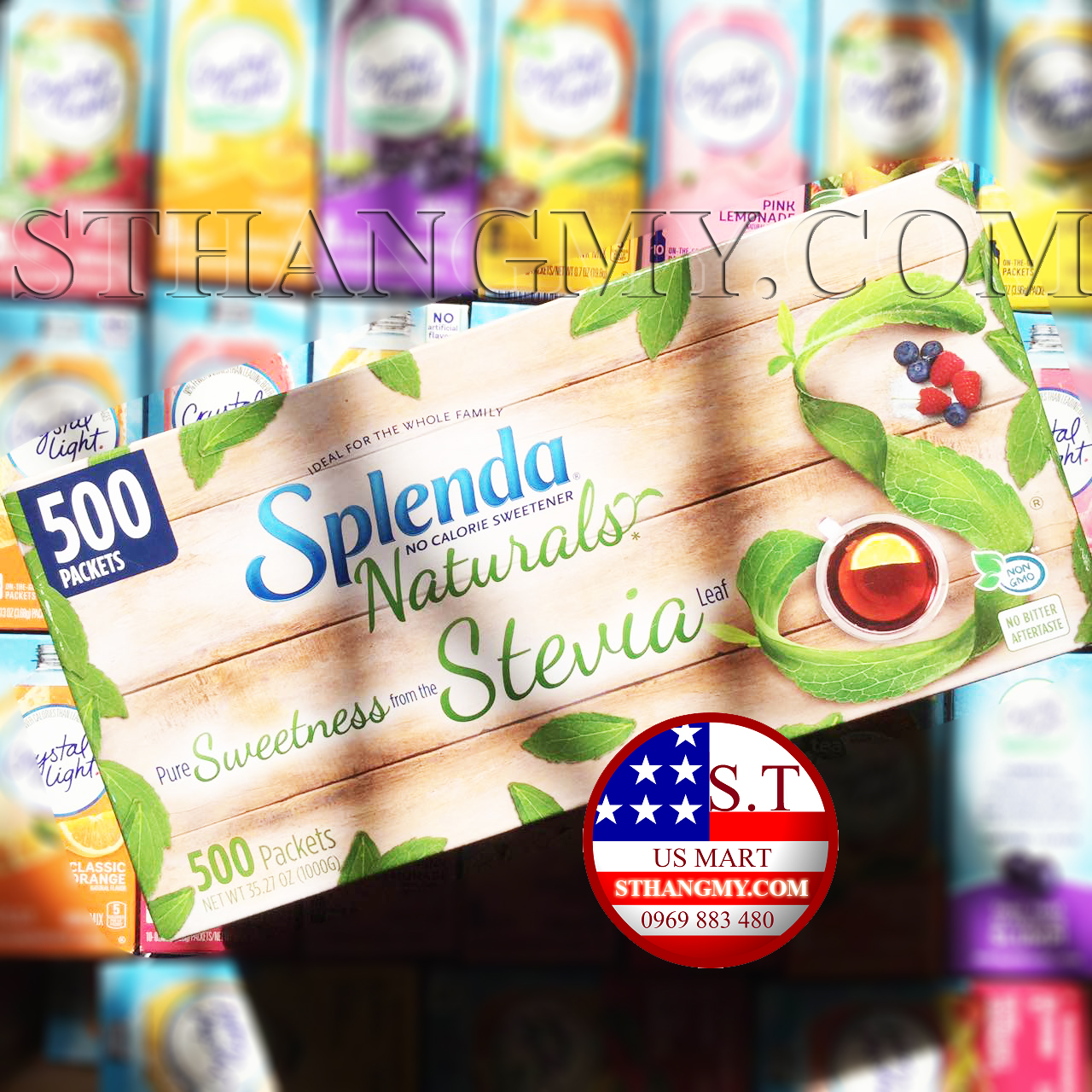 Đường ăn kiêng Splenda Cỏ ngọt tự nhiên hộp 500 gói