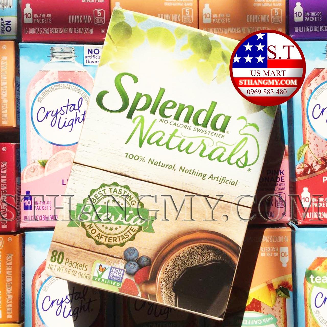 Đường ăn kiêng Splenda Natural Stevia (cỏ ngọt) hộp 80 gói - Đường cho người ăn kiêng
