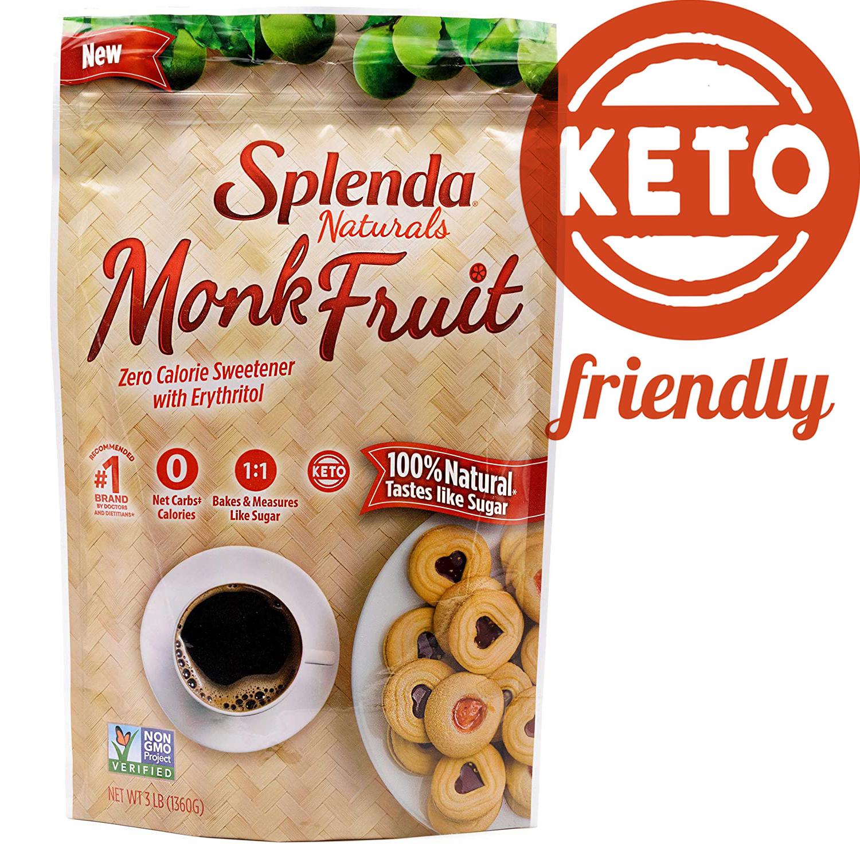 (Keto) Đường La Hán Quả tự nhiên Splenda Monkfruit Naturals 1.36 kg nhập khẩu Mỹ