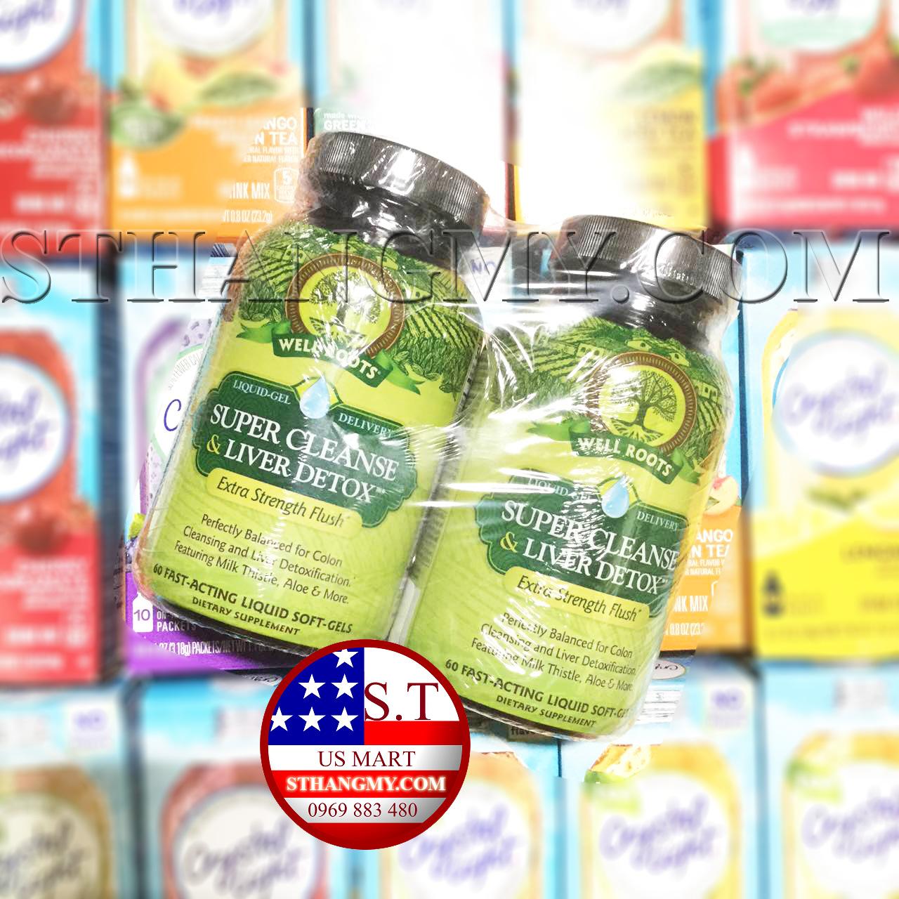 Thuốc giải độc gan và thanh lọc cơ thể Well Roots Super Cleanse & Liver Detox (Pack 2 hộp x 60 viên)