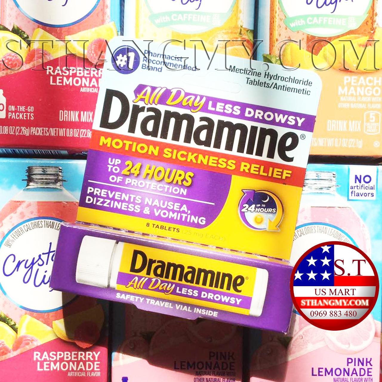 Thuốc say xe Dramamine lọ 8 viên của Mỹ - Không gây buồn ngủ