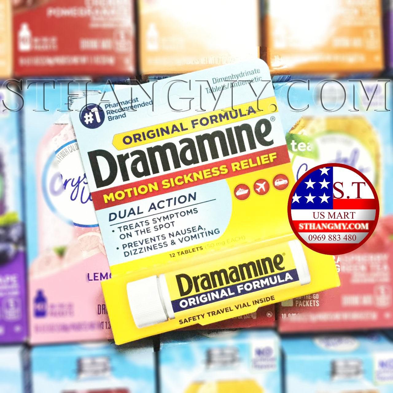 Thuốc say xe Dramamine của Mỹ - Giảm nhanh các triệu chứng say tàu xe