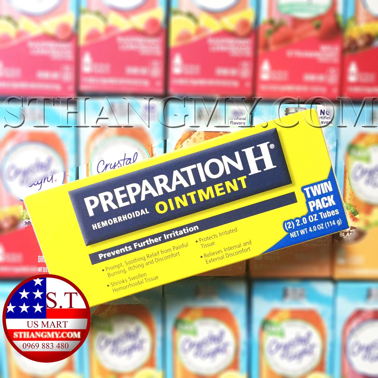 Thuốc mỡ bôi trĩ Preparation H® Ointment  hộp 2 tuýp 57g - giảm đau, co búi trĩ.