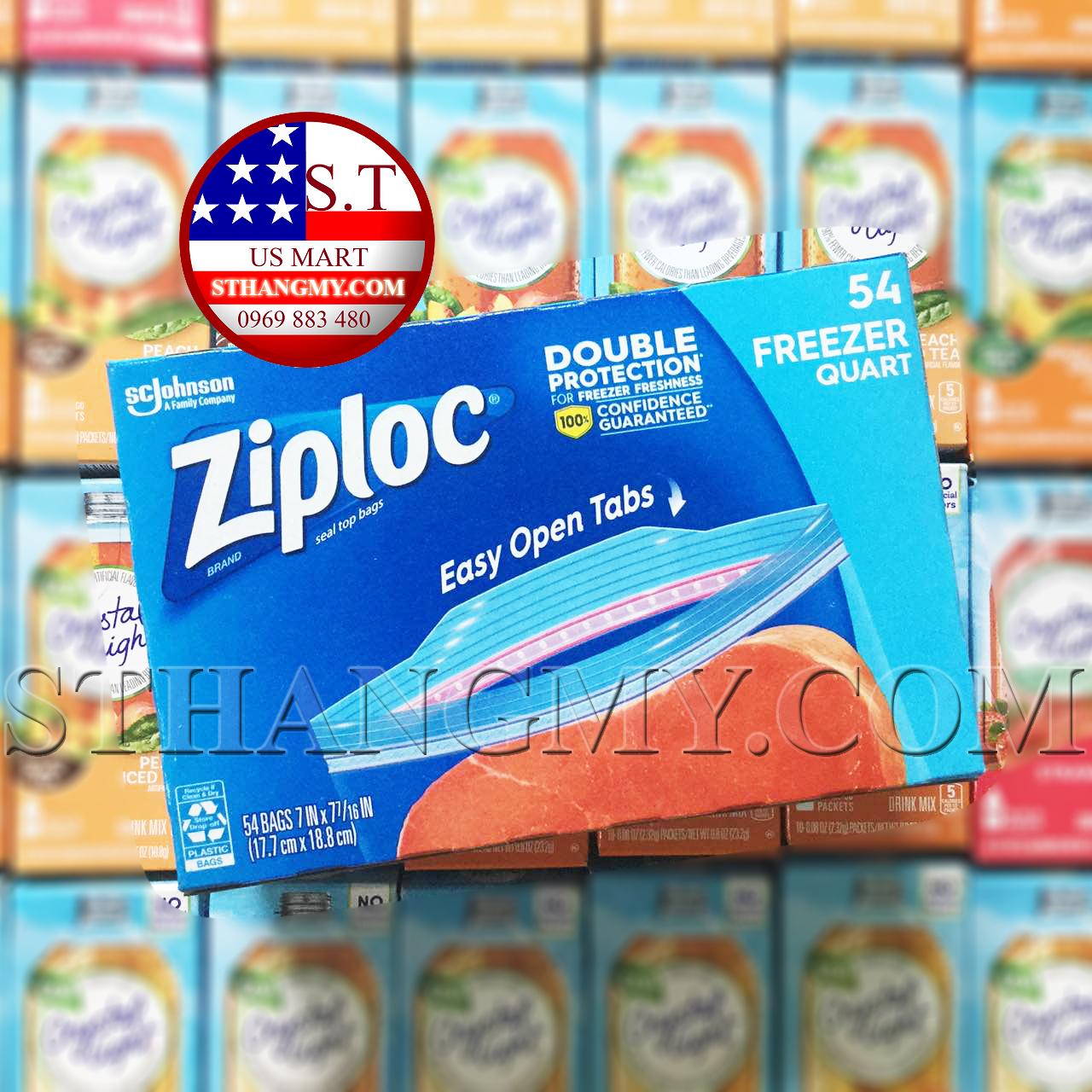 Hộp 54 Túi Ziploc size vừa dùng ngăn đông của Mỹ