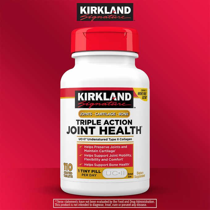 Viên bổ xương, khớp, sụn Kirkland Signature Triple Action Joint Health 110 viên của Mỹ