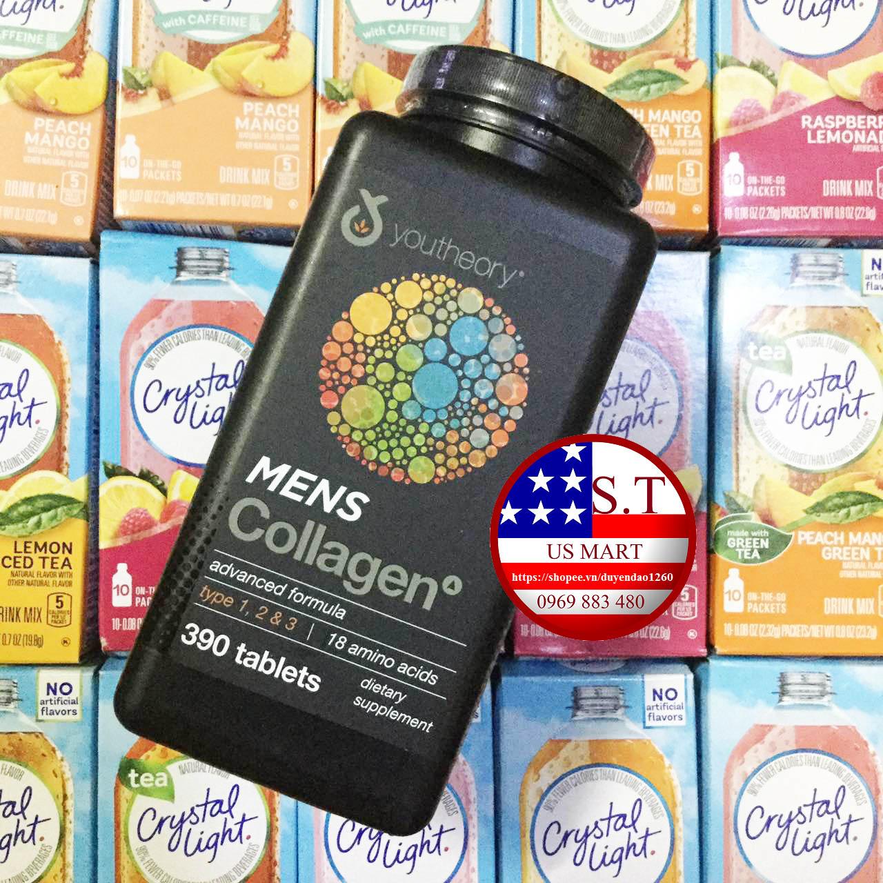 Viên uống bổ sung Collagen cho Nam Youtheory Men's Collagen Advanced Formula, 390 Viên