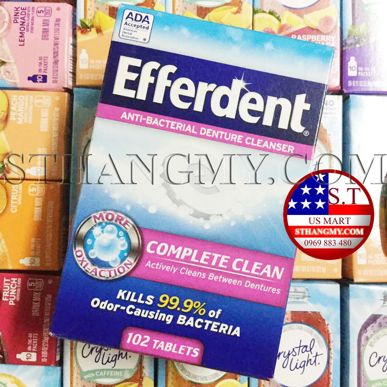 Viên ngâm làm sạch răng giả Efferdent - Chính hãng mua tại Mỹ