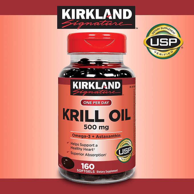 Viên Omega 3 cao cấp từ nhuyễn thể (tôm) Kirkland Signature Krill Oil 500 mg, 160 viên nang mềm