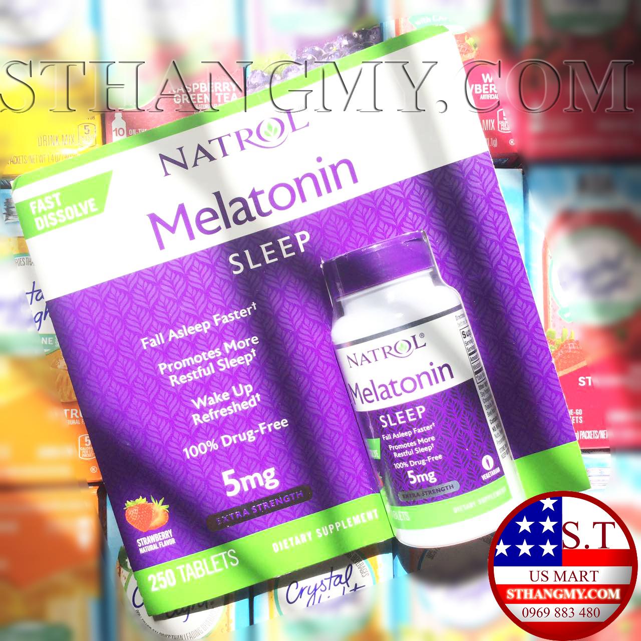 Hàng Mỹ - Viên ngậm giúp ngủ ngon Natrol Melatonin 250 viên
