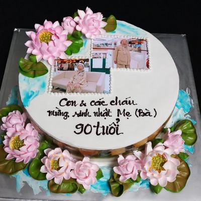 Bánh kem bắt bông hoa & in ảnh tặng sinh nhật ông bà