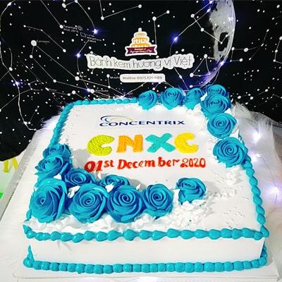 bánh sinh nhật hình vuông in logo khách hàng quận 1