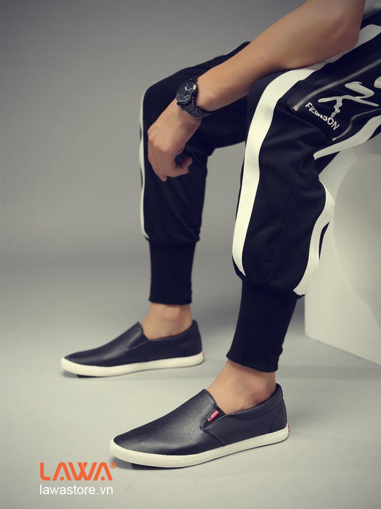 giày lười vải da