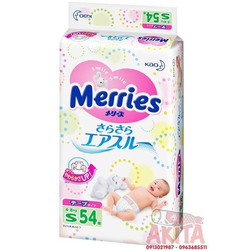 Bỉm dán Merries size S54 ( bé từ 4~8 kg)
