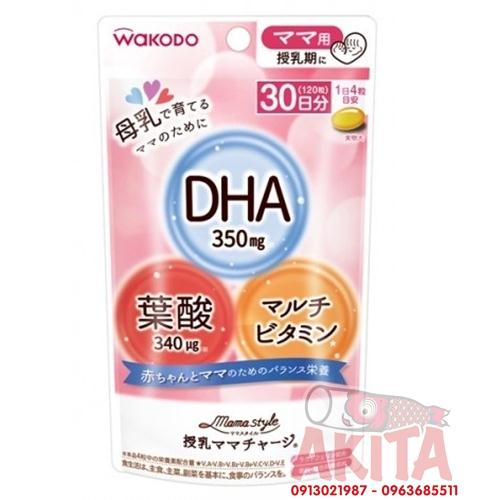 Viến uống lợi sữa bổ sung DHA Wakodo (gói 120 viên)