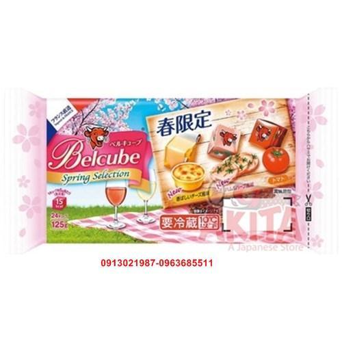 Pho mát viên Belcube hộp 24 viên (vị đậu hà lan, thịt lợn muối, cà chua nướng)