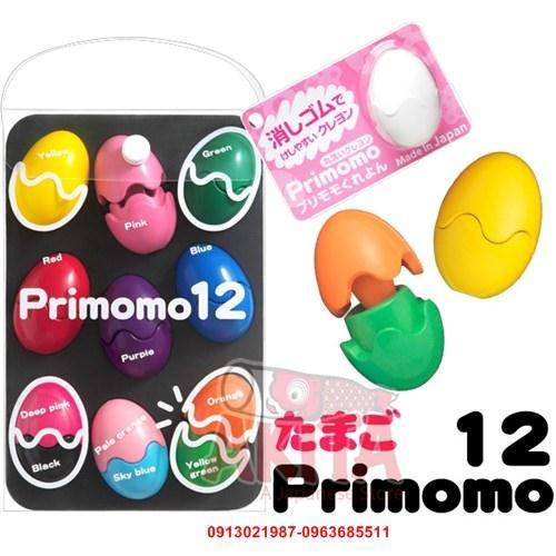 Bút sáp màu an toàn Primomo hình quả trứng (12 màu)