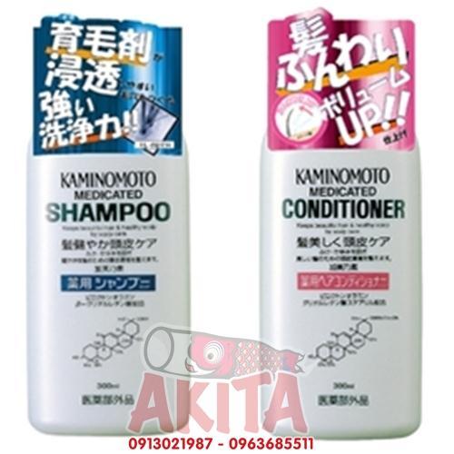 Set dầu gội xả kích thích mọc tóc, ngăn rụng tóc - Kaminomoto (300ml)