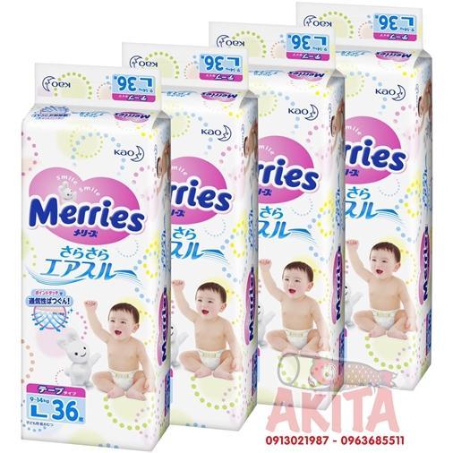 Bỉm dán Merries size L36 ( bé từ 9~14 kg)